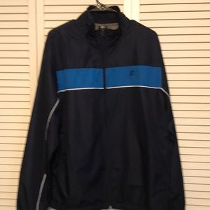 Starter Windbreaker Jacket Navy Blue stripe Zip up